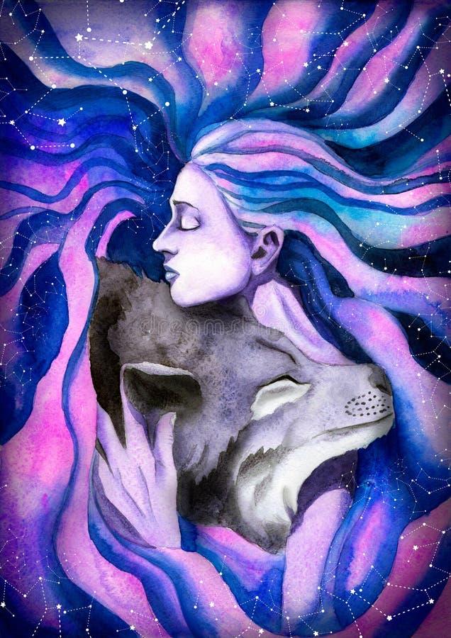 Het meisje die de wolf koesteren stock illustratie