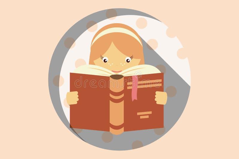 Het meisje die een boek lezen, stoort geen teken, verbeelding en educat royalty-vrije illustratie