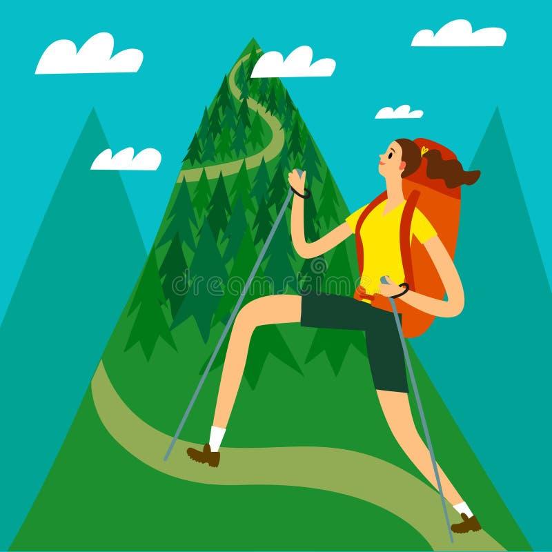 Het meisje die van de beeldverhaalreiziger de berg beklimmen stock illustratie