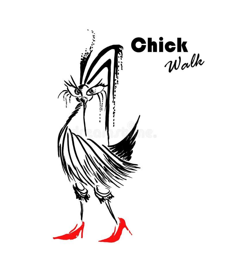 Het meisje die van het manierkuiken met potlood zwarte lijnen trekken Grappige vogelschets als vrouw met hoge hiel rode schoenen stock illustratie