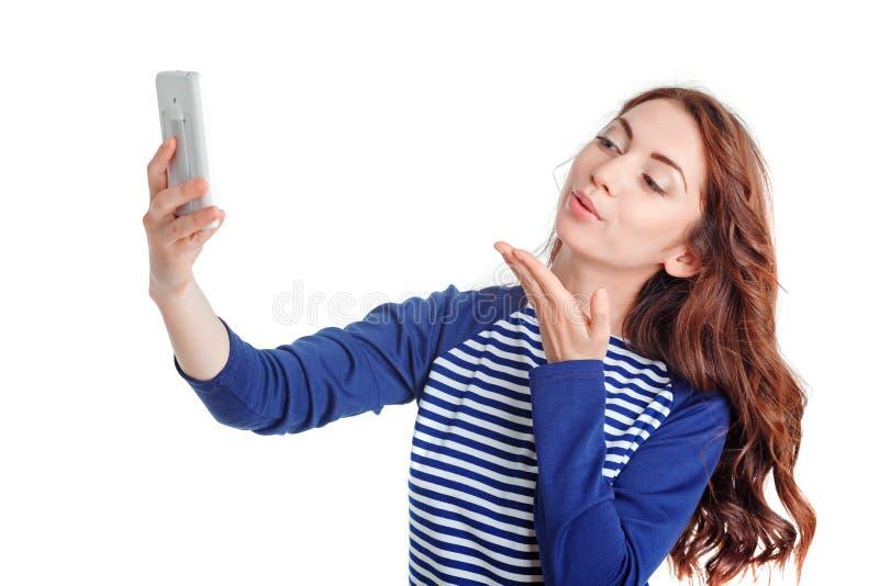 Het meisje die van Nice mobiele telefoon houden stock foto's
