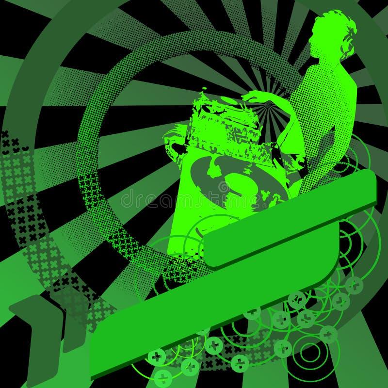 Het Meisje DJ van Gree en Banner. stock illustratie
