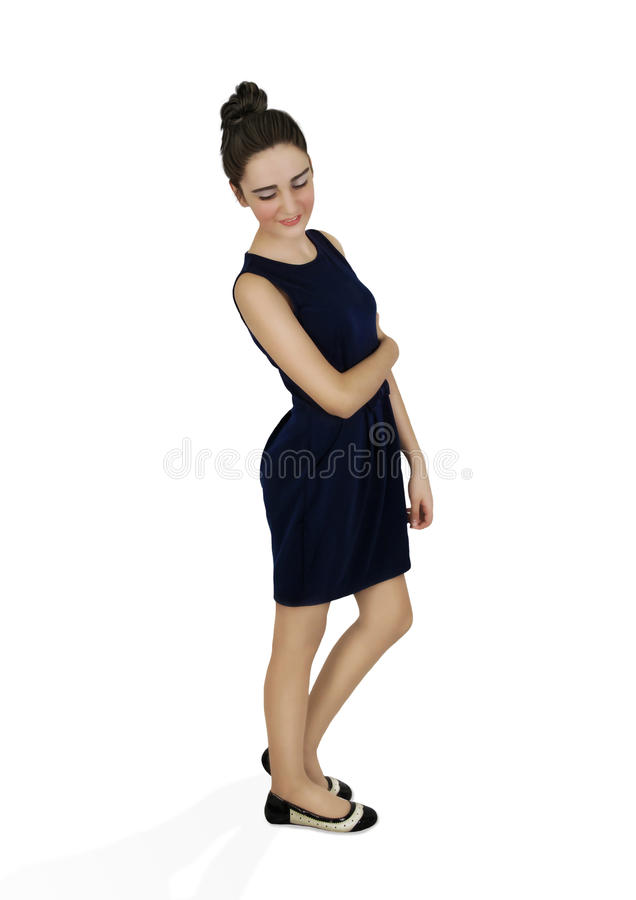 Het meisje in donkerblauwe kleding royalty-vrije stock foto
