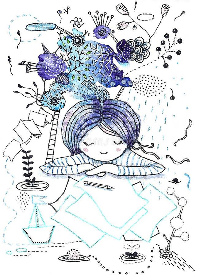 Het meisje in dromen ziet fantasie stock illustratie