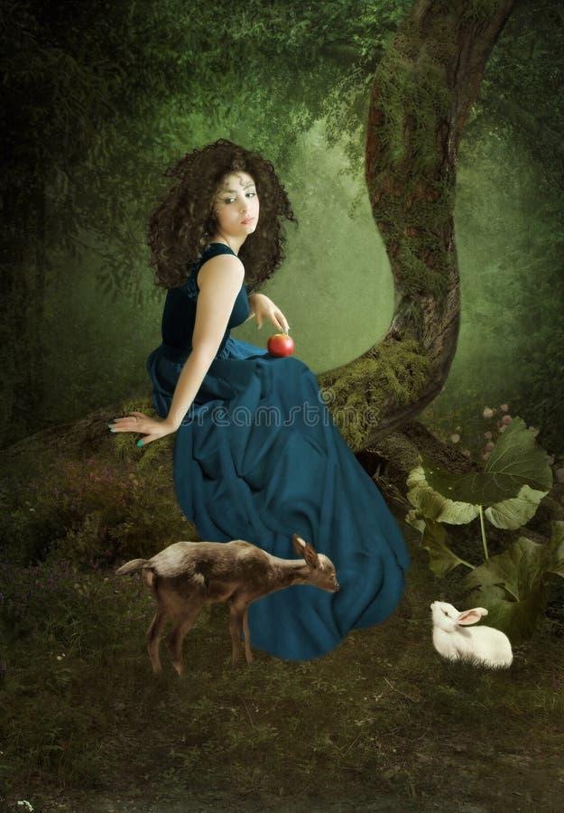 Het meisje in een bos stock fotografie
