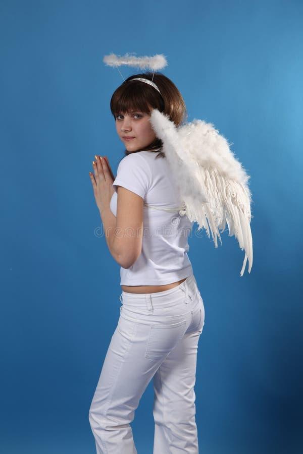Het meisje een engel stock foto