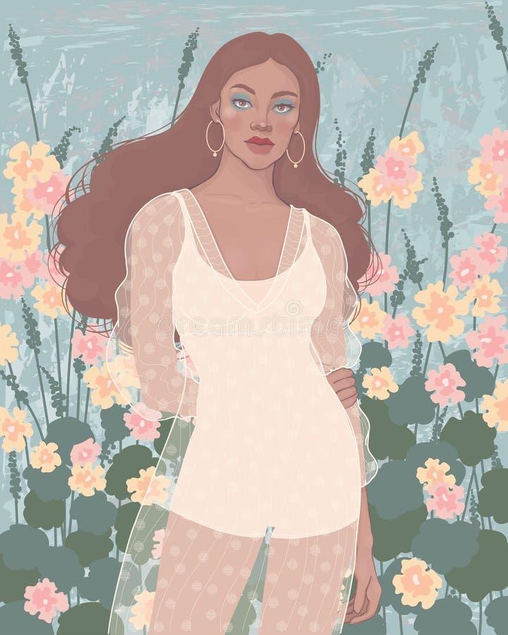 het meisje in een kleding bevindt zich op een achtergrond van bloemen royalty-vrije stock afbeeldingen