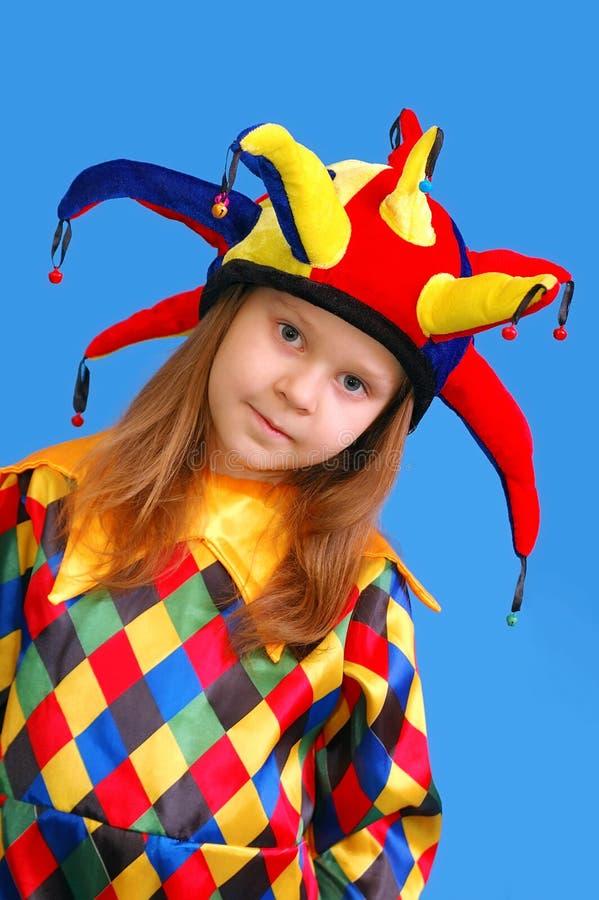 Het meisje in een kostuum van de clown royalty-vrije stock afbeelding