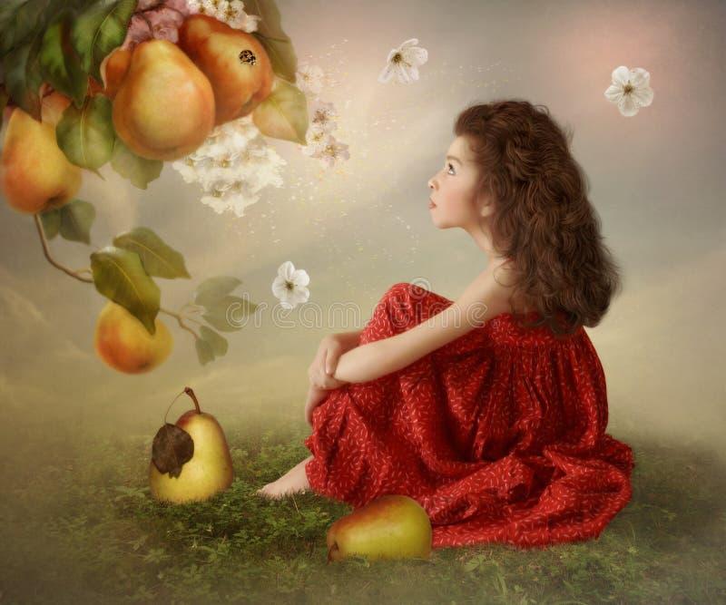Het meisje in een magische tuin met peren stock foto's