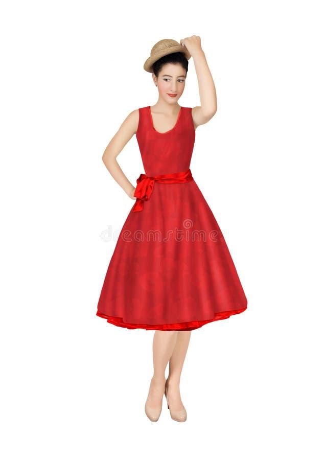 Het meisje in een rode retro kleding stock foto's