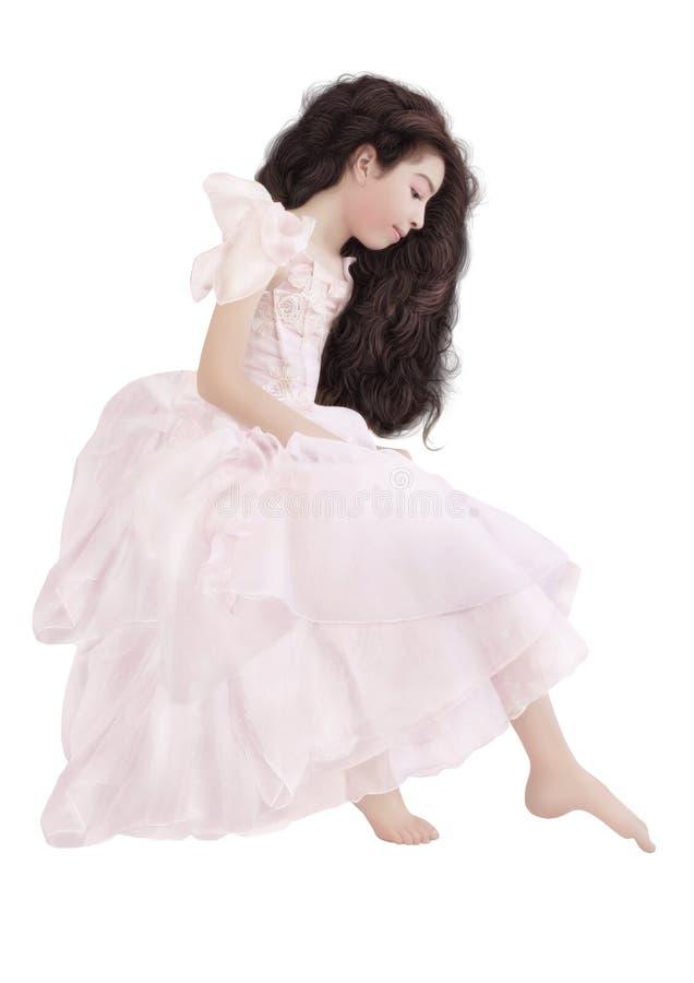 Het meisje is in een roze kleding royalty-vrije stock foto