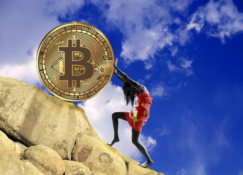 Het meisje, in een vlag van China wordt verpakt, heft omhoog een bitcoinmuntstuk op de heuvel die vector illustratie