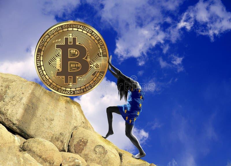 Het meisje, in een vlag van Europese Unie wordt verpakt, heft omhoog een bitcoinmuntstuk op de heuvel die stock illustratie