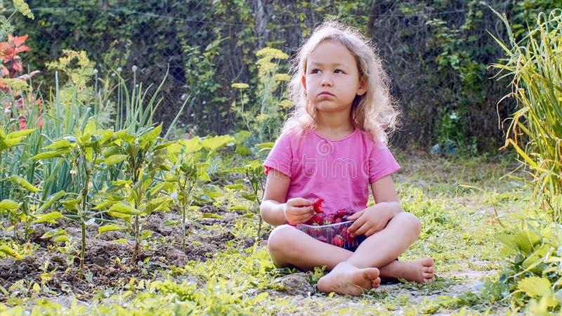 Het meisje eet aardbei en bekijkt camerazitting op het gras royalty-vrije stock afbeeldingen