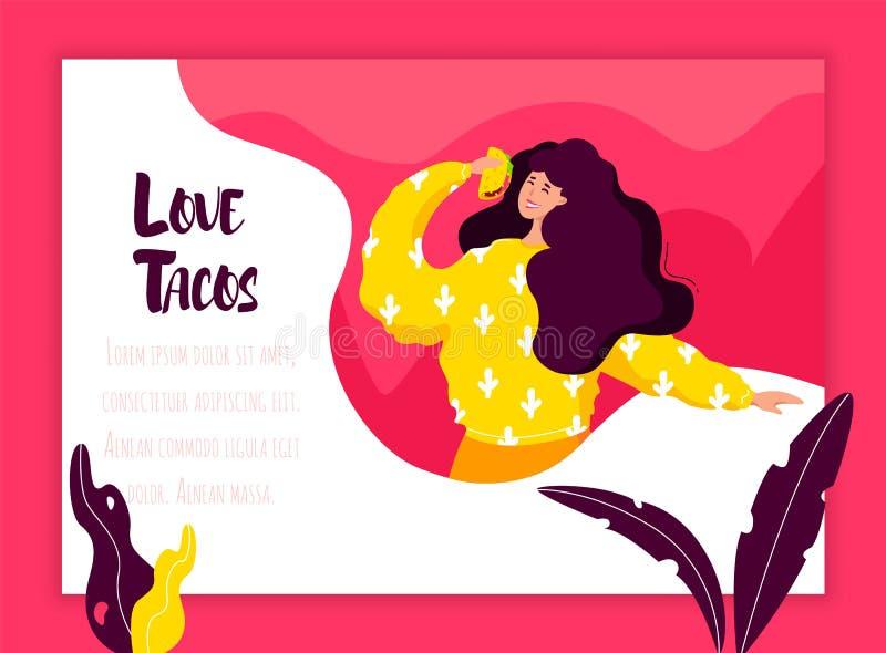 Het meisje eet taco op kleurenachtergrond met installaties en kader Vector Mexicaanse banner in vlakke stijl vector illustratie