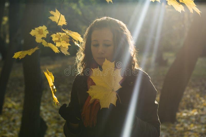 Het meisje en de bladeren royalty-vrije stock afbeelding