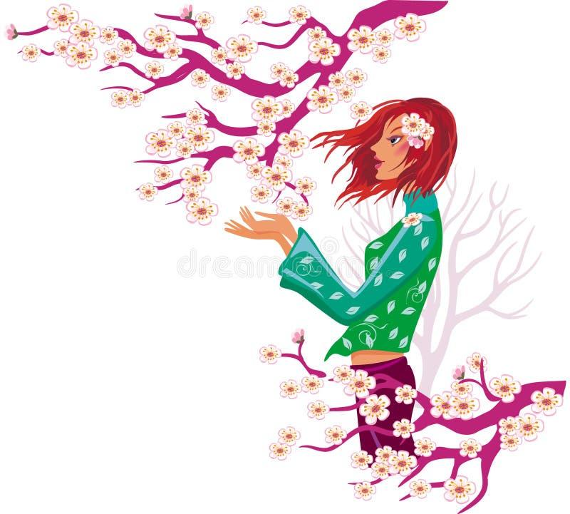Het meisje en de boom van de lente in bloei. royalty-vrije illustratie