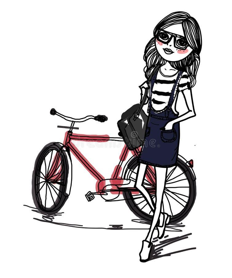 Het meisje en de fiets van de manierschets vector illustratie