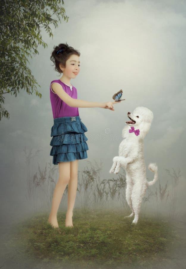 Het meisje en de hond stock foto's