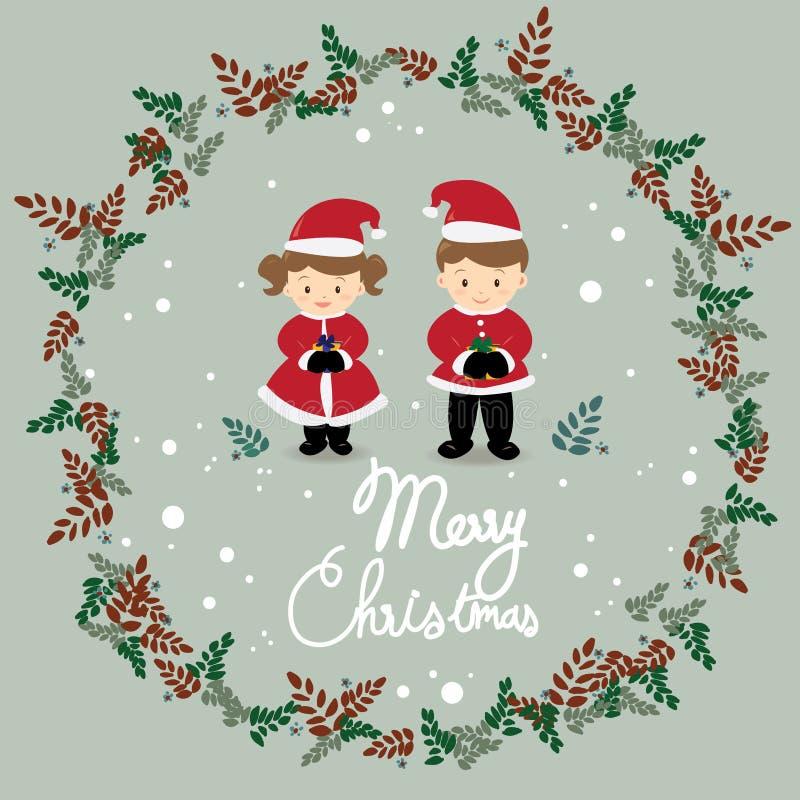 Het meisje en de jongen dragen de vector van het Kerstmiskostuum stock illustratie
