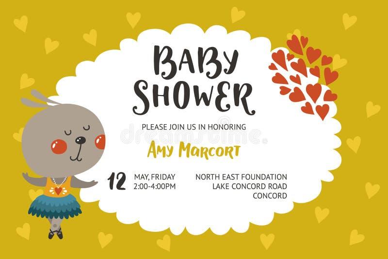 Het meisje en de jongensuitnodiging van de babydouche vector illustratie