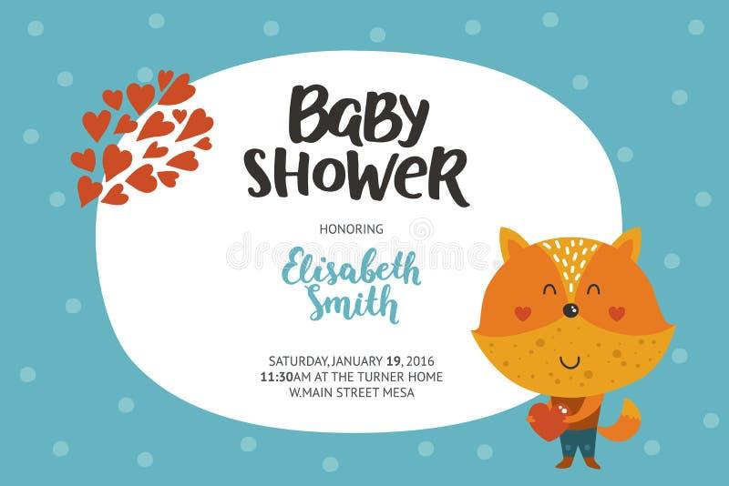 Het meisje en de jongensuitnodiging van de babydouche royalty-vrije illustratie