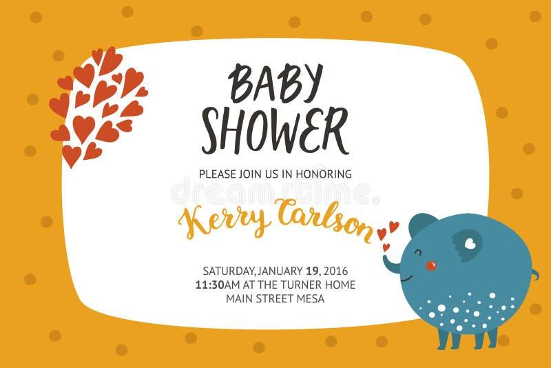 Het meisje en de jongensuitnodiging van de babydouche stock illustratie