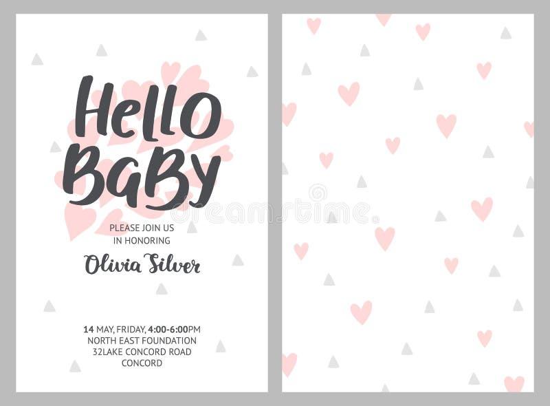 Het meisje en de jongensuitnodigingen van de babydouche, vectormalplaatjes stock illustratie