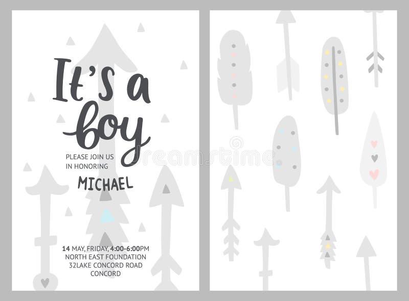Het meisje en de jongensuitnodigingen van de babydouche, vectormalplaatjes Douche p vector illustratie
