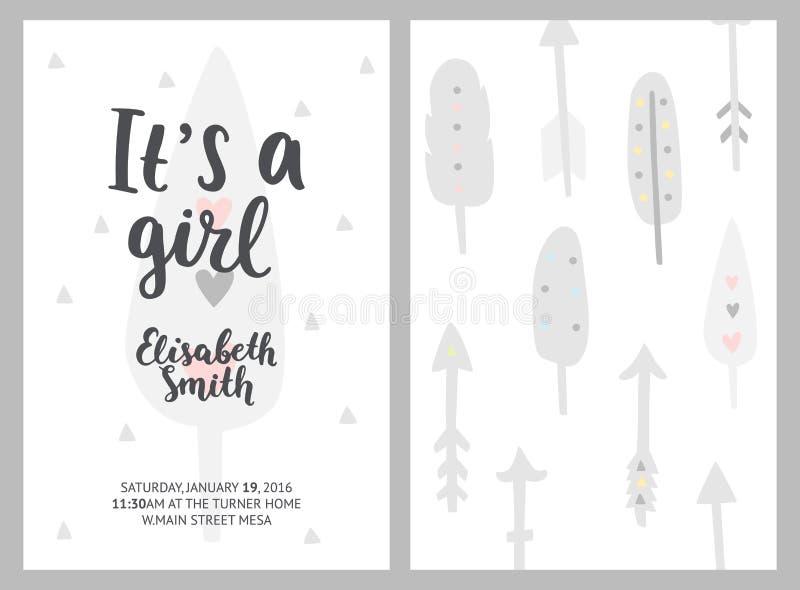 Het meisje en de jongensuitnodigingen van de babydouche, vectormalplaatjes Douche p royalty-vrije illustratie