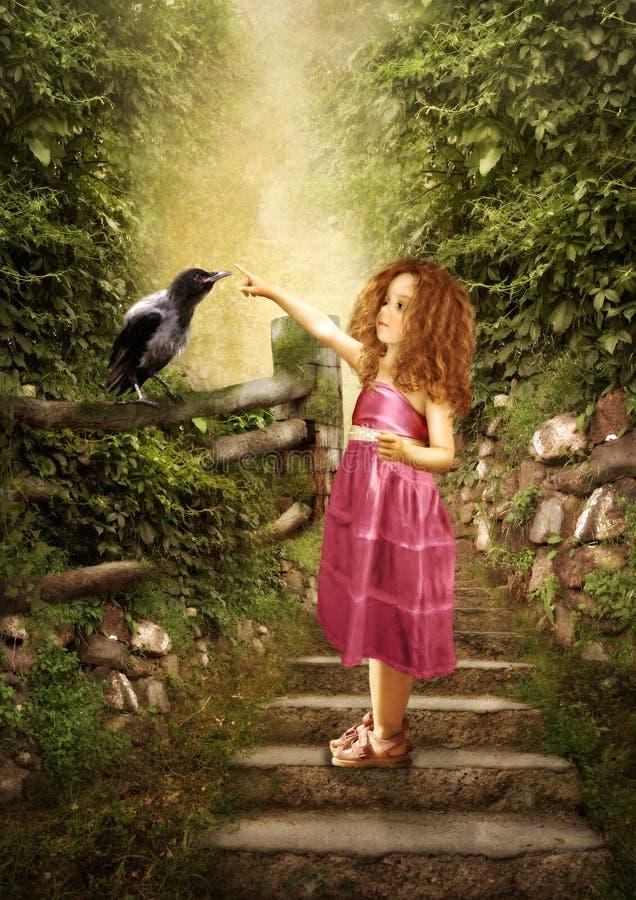 Het meisje en de kleine raaf stock illustratie