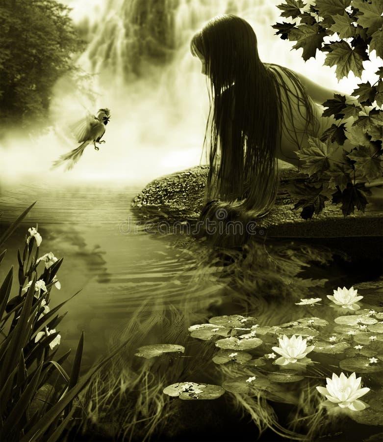 Het meisje en de paradijsvogel dichtbij door waterval. stock foto