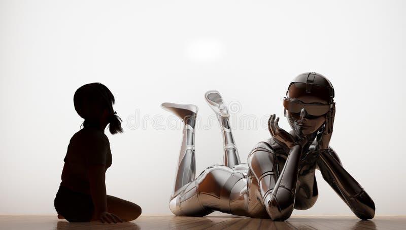 Het meisje en de robot royalty-vrije illustratie