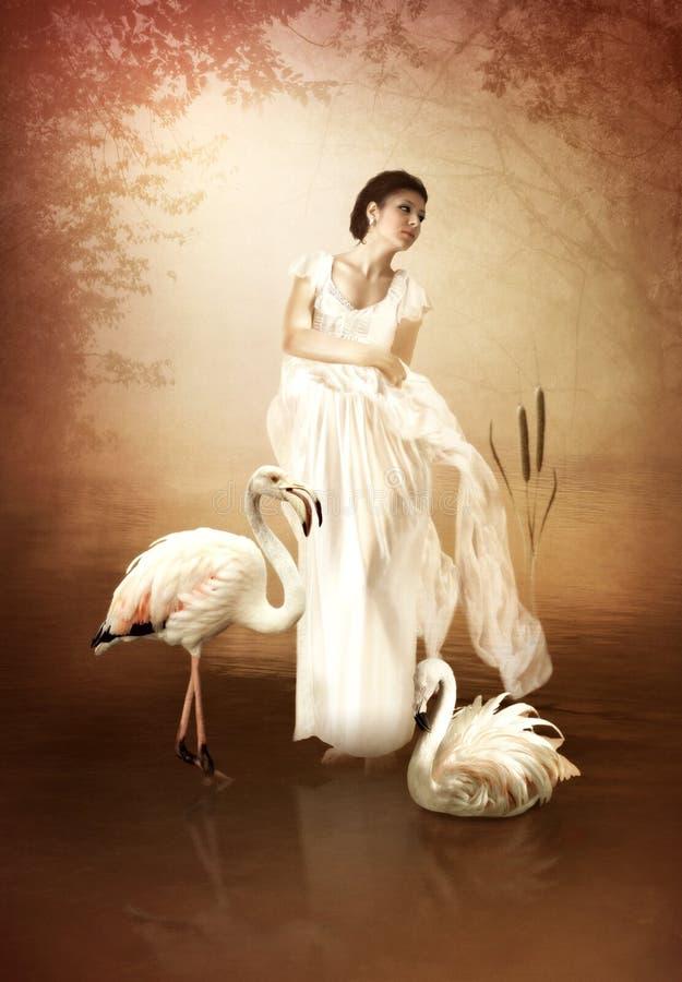 Het meisje en de roze flamingo's vector illustratie