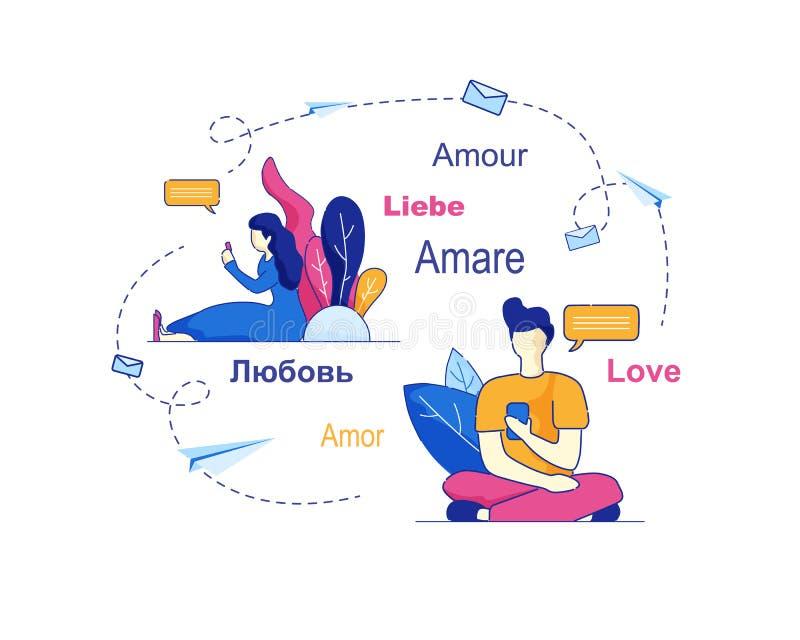 Het meisje en de Vriend communiceren via Sociaal Netwerk royalty-vrije illustratie
