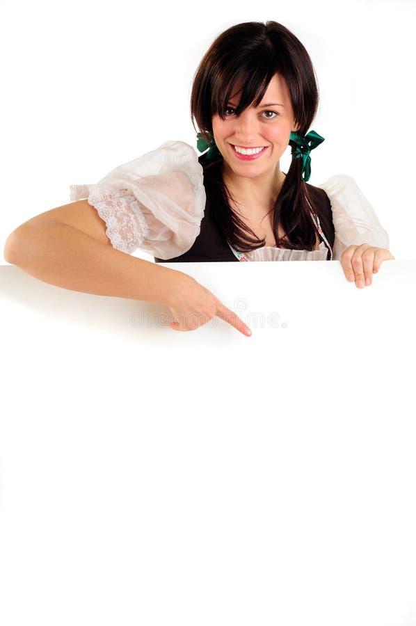 Het Meisje en het Teken van Oktoberfest royalty-vrije stock afbeeldingen