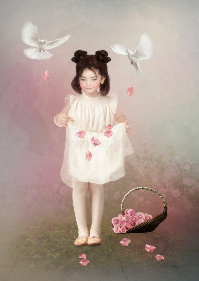 Het meisje en nam bloemblaadjes toe royalty-vrije stock afbeelding