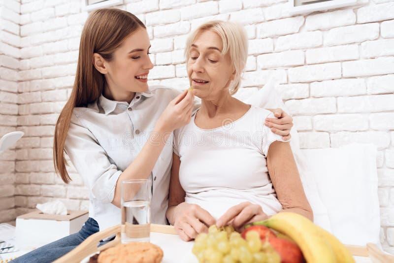Het meisje geeft thuis voor bejaarde Het meisje brengt ontbijt op dienblad Het meisje voedt vrouw stock fotografie