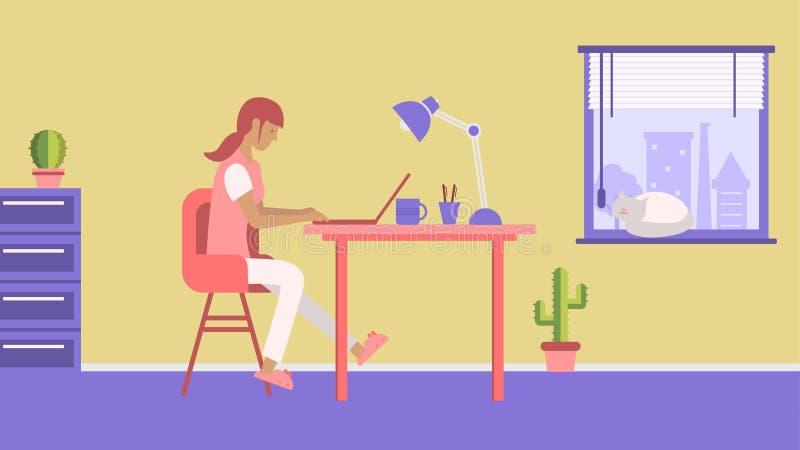Het meisje geniet thuis van laptop Zaal ontwerp freelancer royalty-vrije illustratie