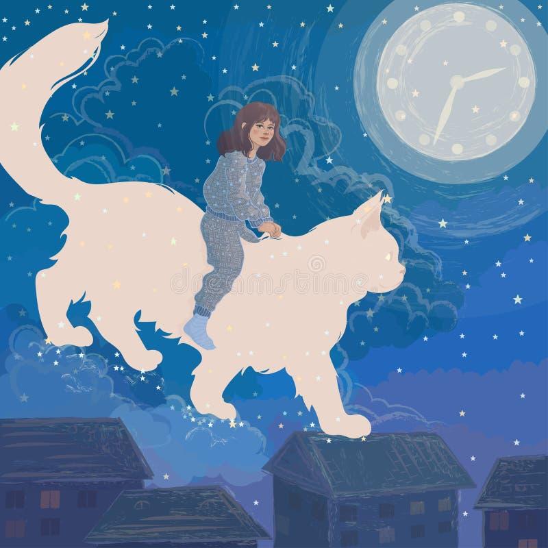 Het meisje heeft een droom over een kat stock afbeelding