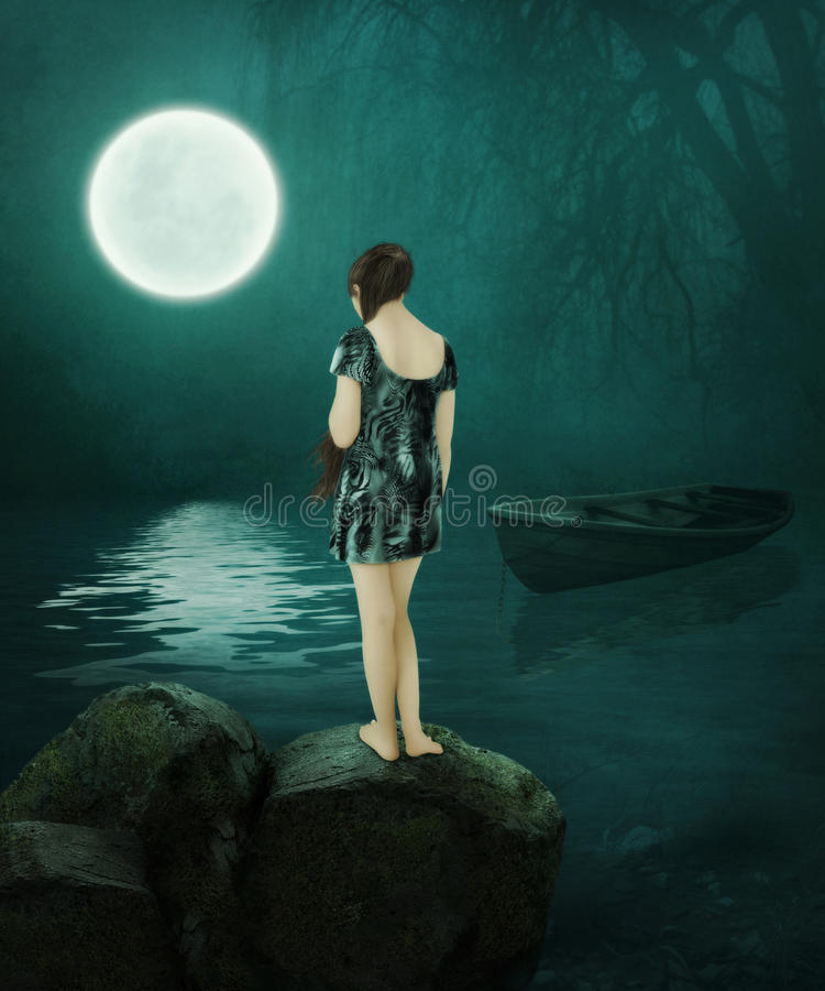 Het meisje in het maanlicht royalty-vrije stock afbeeldingen