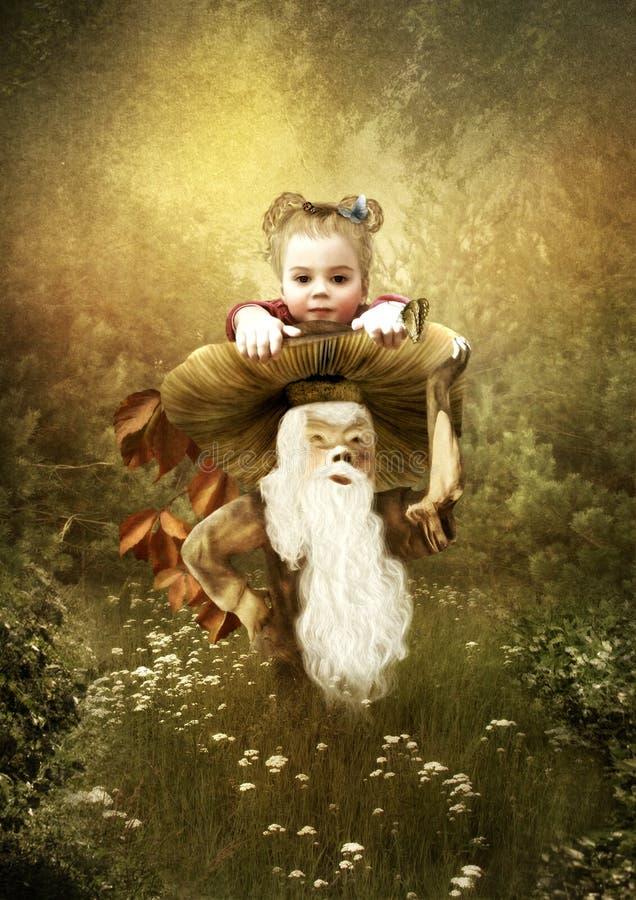 Het meisje in het magische bos stock illustratie