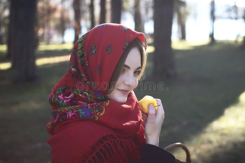Het meisje houdt appel in hand stock foto's