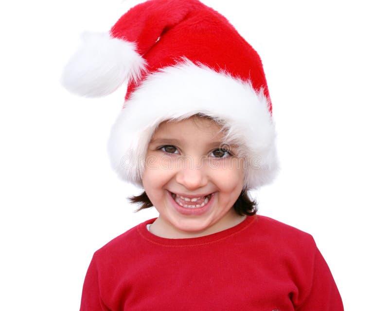 Het meisje kleedde zich als Kerstman stock afbeelding