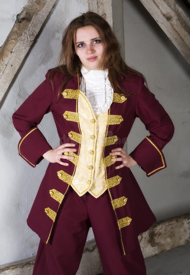 Het meisje kleedde zich als prins stock fotografie