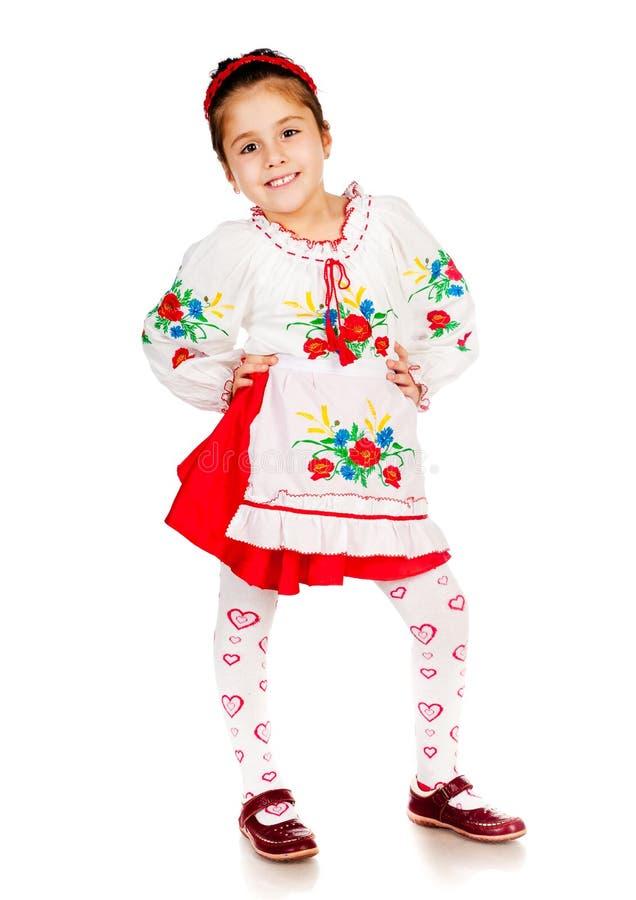 Het meisje kleedde zich in Oekraïener royalty-vrije stock afbeelding