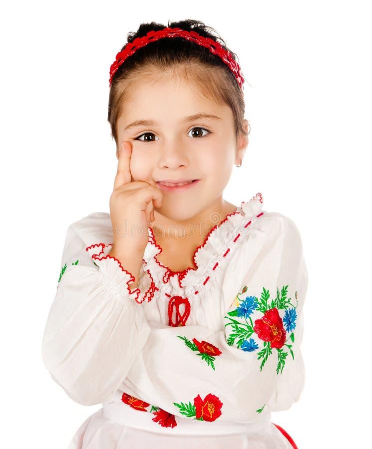 Het meisje kleedde zich in Oekraïener royalty-vrije stock foto
