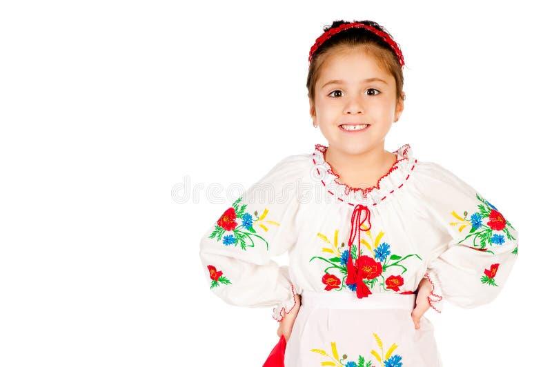 Het meisje kleedde zich in Oekraïener royalty-vrije stock foto's