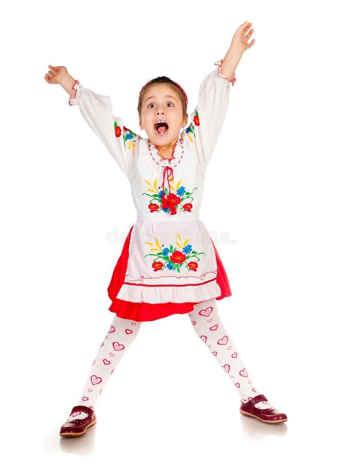 Het meisje kleedde zich in Oekraïener stock foto's