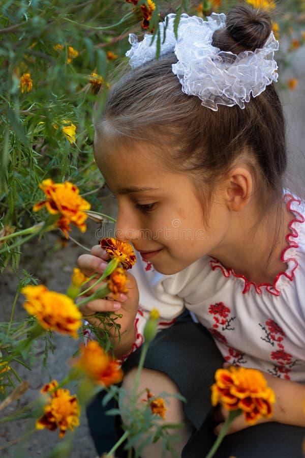 Het meisje kleedde zich in Oekraïens volkskostuum stock afbeeldingen